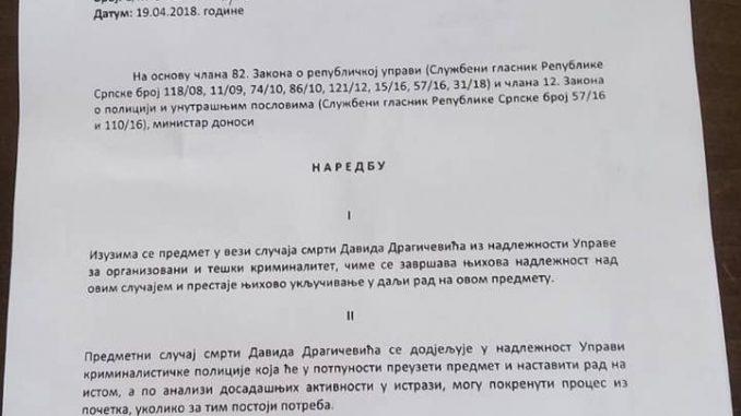 Leutar.net Predmet Davida Dragičevića nije više u nadležnosti uprave za organizovani i teški kriminalitet