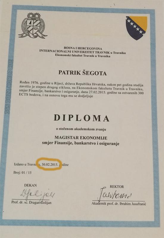 Leutar.net NEVJEROVATNO Hrvatu izdata diploma fakulteta u Travniku 30. februara? (FOTO)