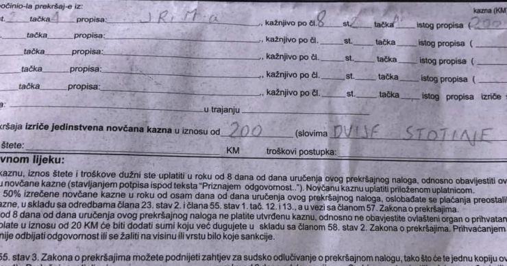 "Leutar.net Kazna od 200 KM jer je policajcu na izgovorenu riječ ""Olovo"" odgovorio: ""Na mom bolovo"""
