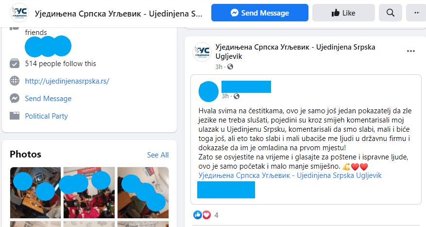 Leutar.net Ujedinjena Srpska se hvali stranačkim zapošljavanjem