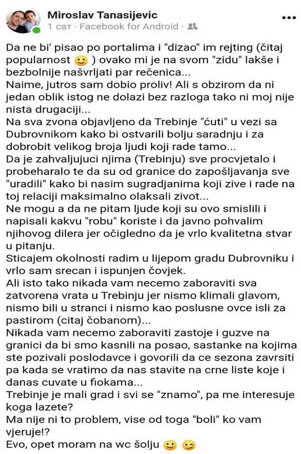 Leutar.net Trebinjci zaposleni u Dubrovniku poručili Petroviću: Nikad vam nećemo zaboraviti sva zatvorena vrata u Trebinju