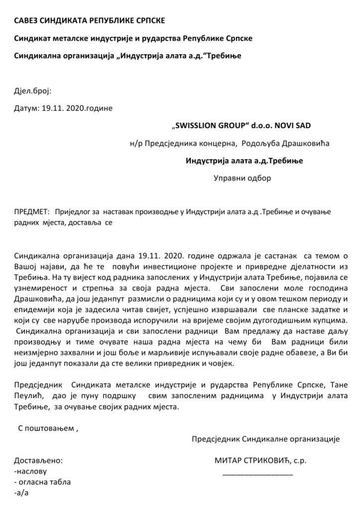 Leutar.net Sindikalna organizacija IAT-a uputila Rodoljubu Draškoviću prijedlog nastavka proizvodnje i očuvanje radnih mjesta