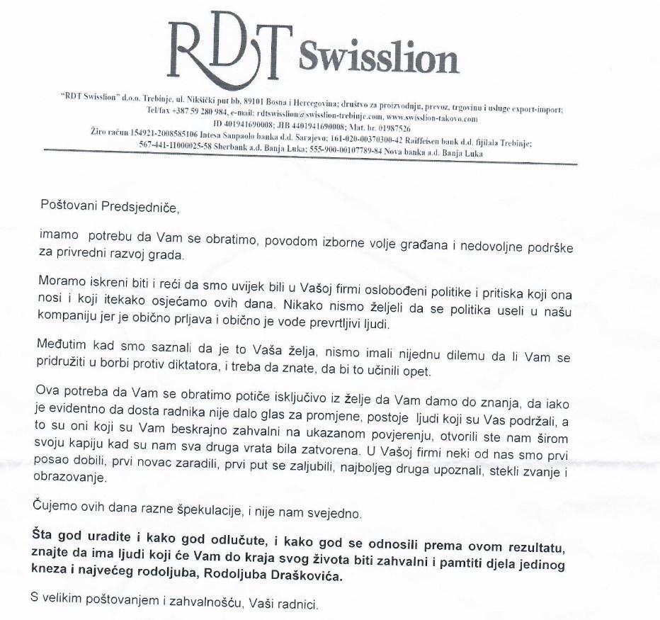Leutar.net Radnici RDT Swisslion Trebinje uputili dopis Rodoljubu Draškoviću
