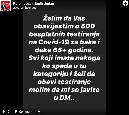 """Leutar.net SNSD u Banjaluci poklanja testove na koronu: """"Brigu o vašem zdravlju prepustite nama"""""""
