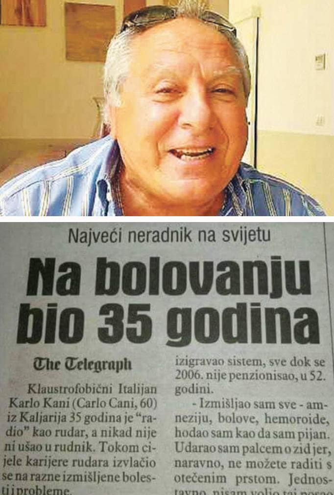 Leutar.net Ovaj čovjek je rekorder, na bolovanju proveo 35 godina
