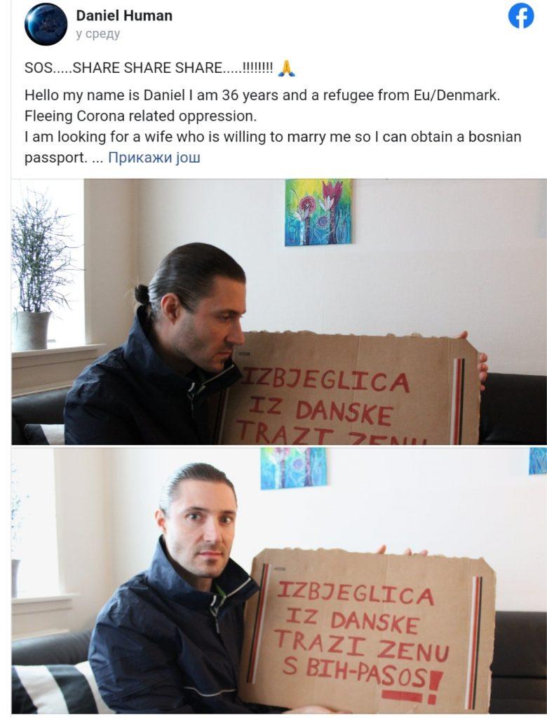 Leutar.net Danac na Facebooku traži ženu iz BiH za brak. Dobro kuham i finansijski sam situiran