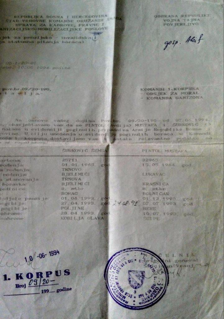 Smrtni list Mustafe Pintola