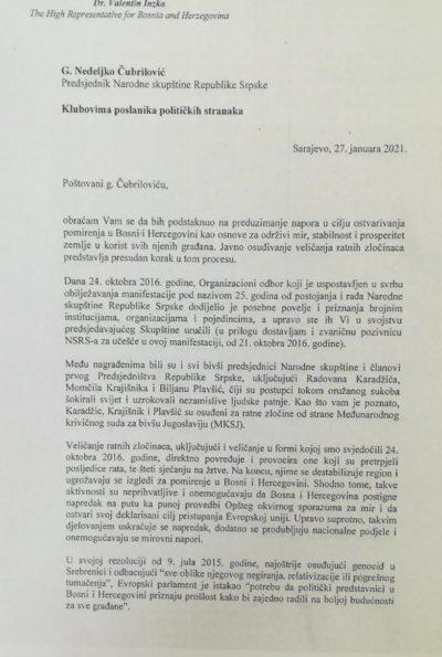 """Leutar.net """"Oduzmite povelje Krajišniku, Karadžiću i Plavšićevoj, IMATE TRI MJESECA"""" Incko uputio oštro pismo Narodnoj skupštini Republike Srpske (FOTO)"""