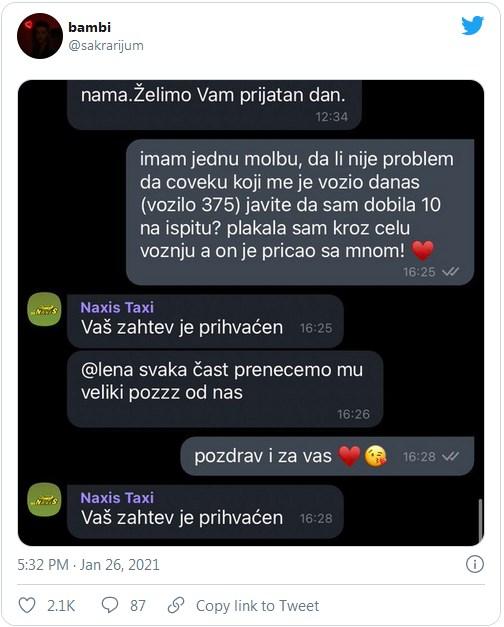 Leutar.net Taksista iz Beograda je postao junak dana kada je pomogao djevojci da položi ispit
