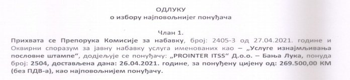 """Leutar.net PROINTERU novih 270 000 KM od preduzeća """"Hidroelektrane na Trebišnjici"""" za iznajmljivanje štampača"""