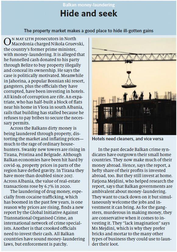 Leutar.net Britanski Ekonomist o pranju novca na Balkanu: Tržište nekretnina kao dobro mjesto za sakrivanje nezakonito stečene dobiti