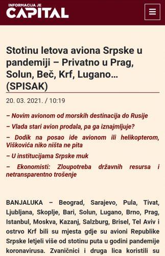 Leutar.net Ko to leti na more avionom Vlade Republike Srpske?
