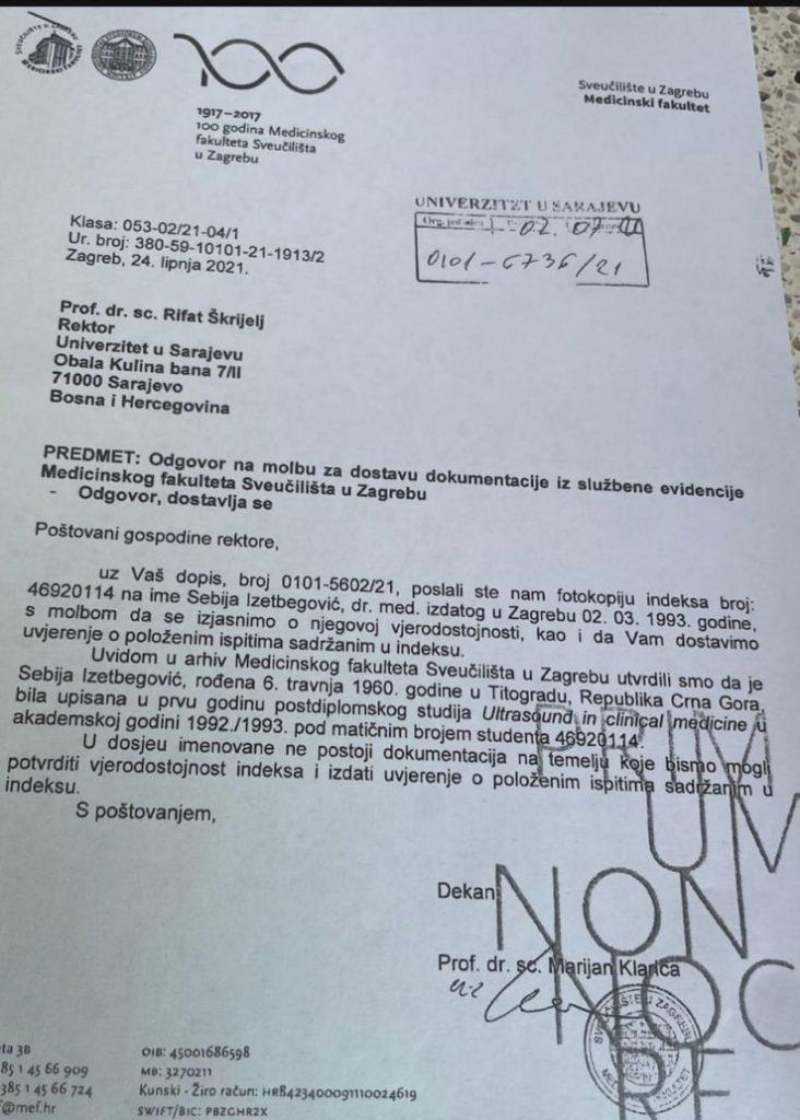 Leutar.net Ekskluzivno: Stigla potvrda iz Zagreba, nema dokaza da je Sebija Izetbegović položila ispite u Hrvatskoj