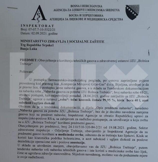 Leutar.net Bolnica u Trebinju koristila tehnički gas, Ministarstvo zdravlja RS-a ignorisalo obavijest inspektora?